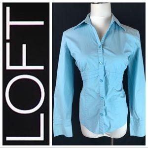 Ann Taylor LOFT Aqua Blue Fitted Button Down Shirt